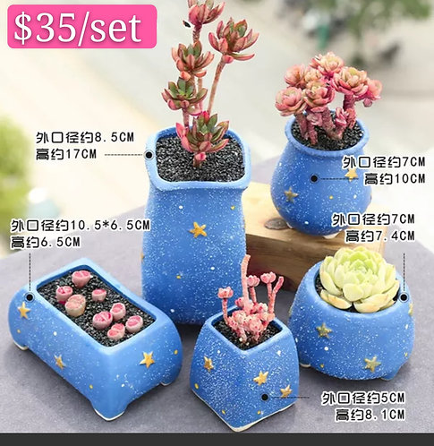 Sky Blue Star Collection 5pcs Ceramic pots 8 - 17cm Height