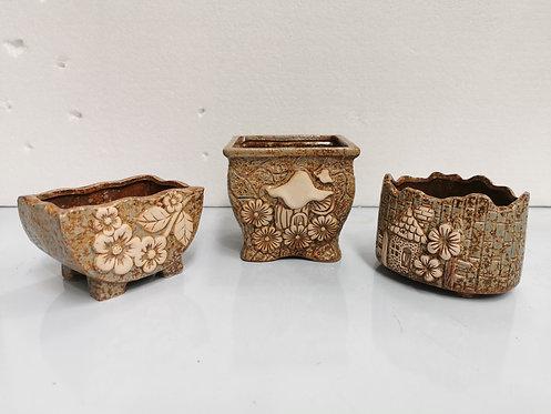 Set of 3 3D Flower Hand Painted Ceramic Succulents Pots 3 sizes