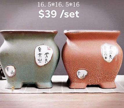 Pair Large Acient Chinese flower pots 16cm x 16cm