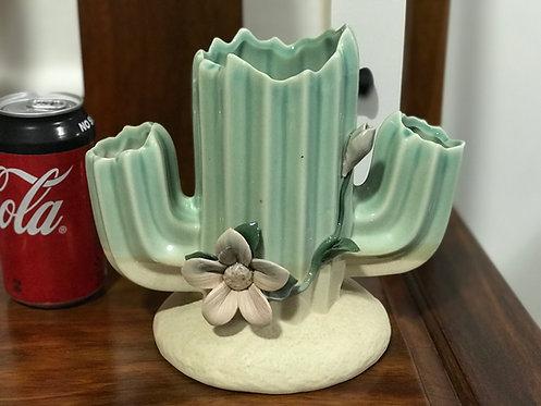 3D Flower Gloss Glaze Cacti Succulents Pots Cactus 3 Heads Green 22cm H x 19cm