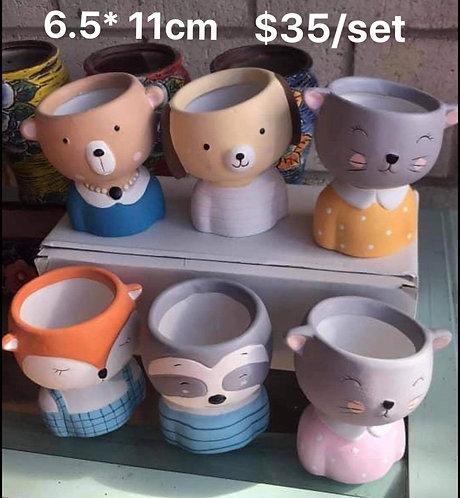 Cute Animal Succulent Pots Selections 6pcs