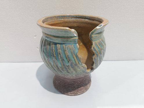 Cracking Design Tall Ceramic Succulents Pots Vintage Teal green