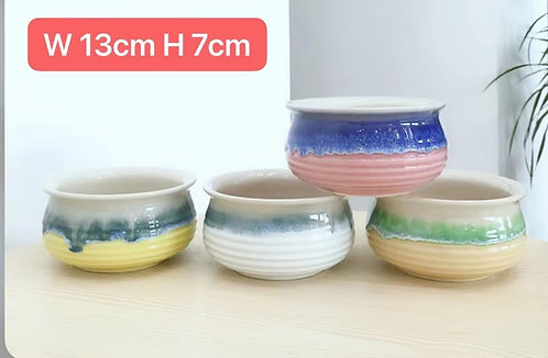 Set of 4 Glaze Painted Ceramic Succulents Pots Medium #2