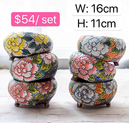 Flora round ceramic pots set of 6