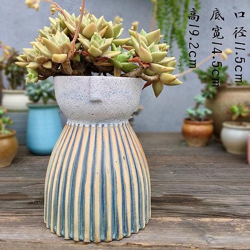Large Solid Succulent Flower Pots Vase Matt Grey Blue 20cm Height