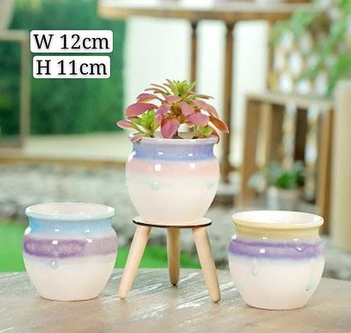 Set of 3 Gloss Multi-color Selection  Succulent Pots Cup 11cm Height