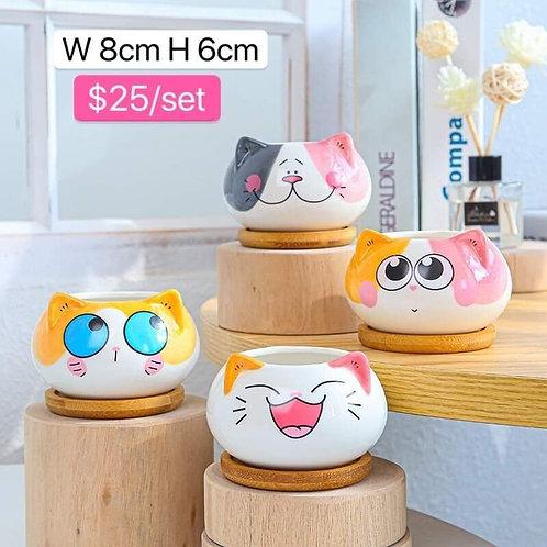 Set of 4 Cute Kitty Small pots 8x6cm