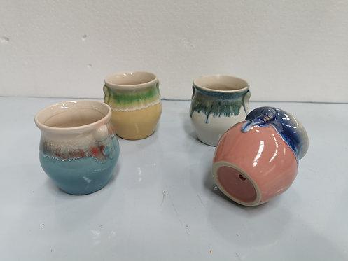 Set of 4 Glaze Painted Ceramic Succulents Pots Medium #3
