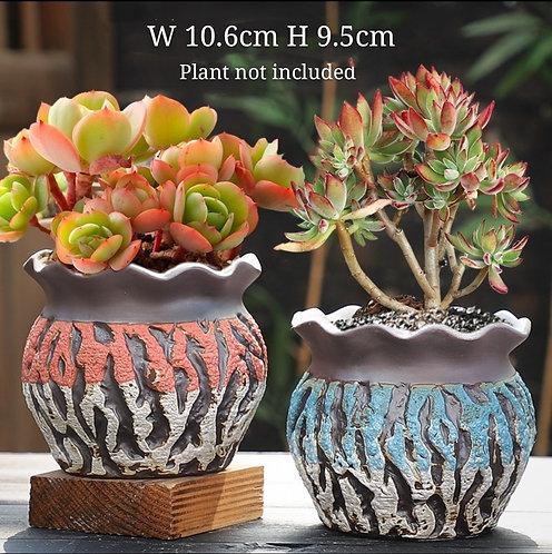 Pair Small Premium Purple Clay Succulents flower pots Curved 10.6cm x 9.5cm