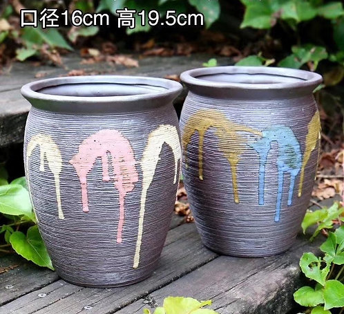 Pair Tall boys Premium Purple Clay Succulents flower pots 16cm x 20cm heigh