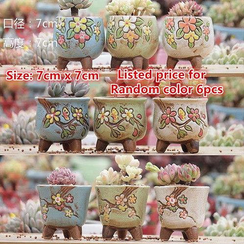 6 Random Hand Painted Ceramic Cacti Succulent Pots Flower Plant Outdoor & Indoor