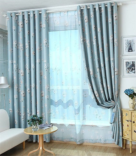 DOUBLE SIDE PATTERN BLUE FLORA BLOCKOUT CURTAIN