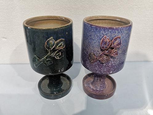 Pair 3D Flower Hand Painted Large Ceramic Succulents Pots Gloss Glaze goblet