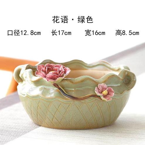 3D Flower Gloss Glaze Square Succulent / Cacti Pots 09 Tan Green Bowl