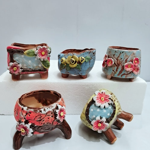 Set of 5 Hand Painted Plate Flower Cacti Succulent Pots Multi Shape Color