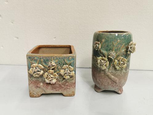 3D Flower Hand Painted Ceramic Succulents Pots Gloss Glaze #7