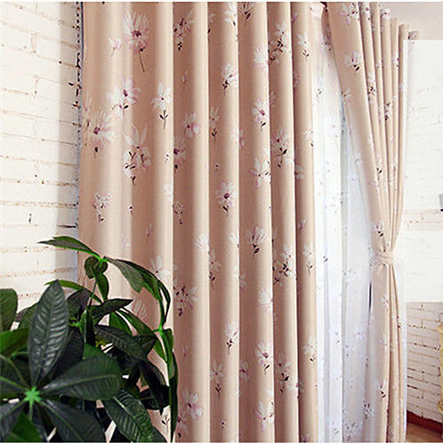 Pink Flora Natural Fabric Curtain Double Pattern
