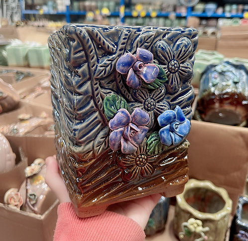 3D flower Ceramic Succulents Pots Gloss Glaze 15cm H x 10cm D x 10cm W Navy