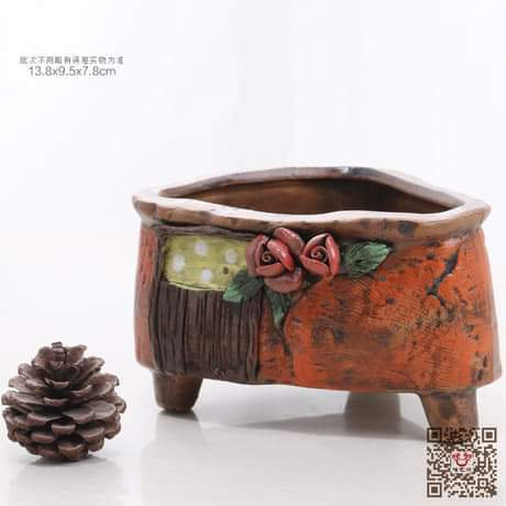 Hand Painted Orange Triangle Succulent Pot 14cm x 10cm