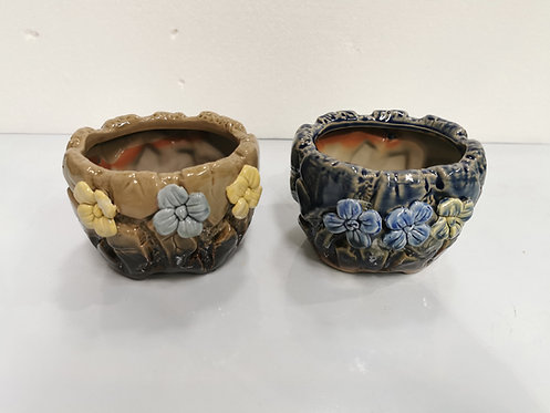 Pair 3D Flower Hand Painted Ceramic Round Succulents Pots Gloss Glaze #5