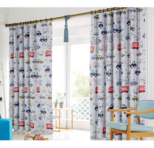 Kids Room Curtain Car Truck Print - Boys