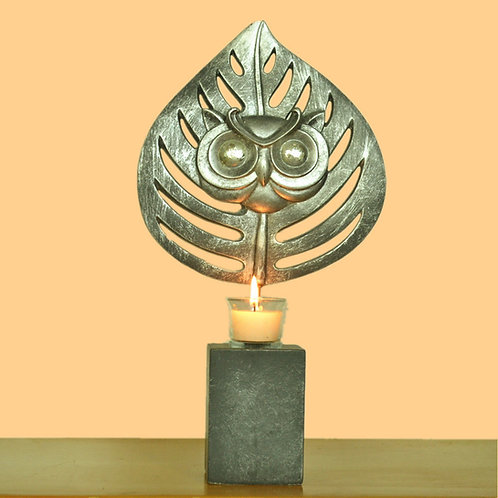 Abstract Iron Candle Holder Tealight Owl Ornament