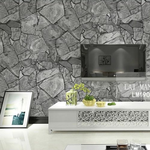 Marble Rock Slate Grey Realistic Wallpaper Roll