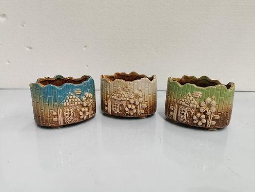 Set of 3 3D Flower Hand Painted Ceramic Succulents Pots #3