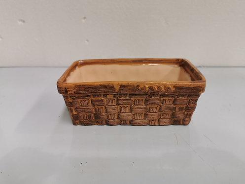 Basket Style Rectangular Hand Painted Ceramic Succulents Cacti Pot