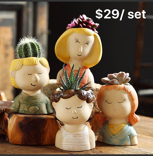 Cute Ladies Succulent Pots Selections 4pcs 10cm height