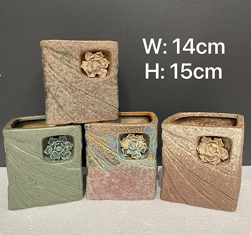 Set of 4 Square 3D Flower Hand Painted Tall Ceramic Succulents Pots Vintage Rust