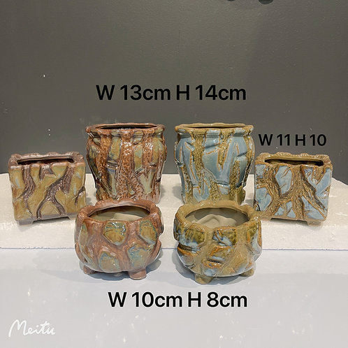 Set of 6 Variety Ceramic Succulents Pots