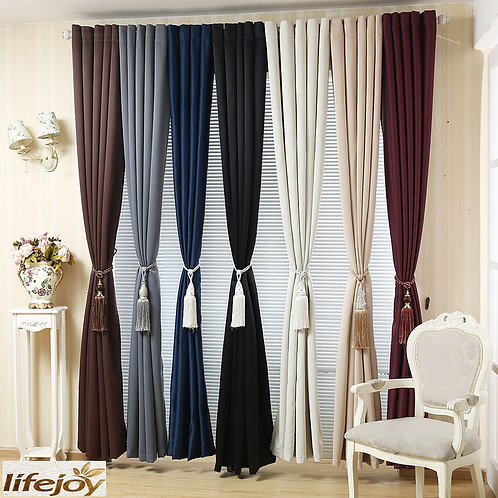 Quality Window Curtains Plain Color 4 Sizes