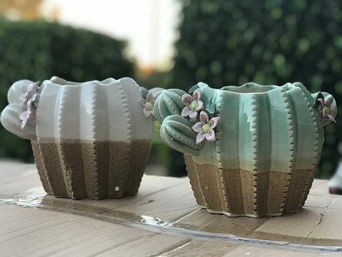 3D Flower Gloss Glaze Cacti Succulents Pots Cactus Fat White Green