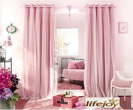 BLOCKOUT EYELET CURTAINS Double Layer Bridal Lace
