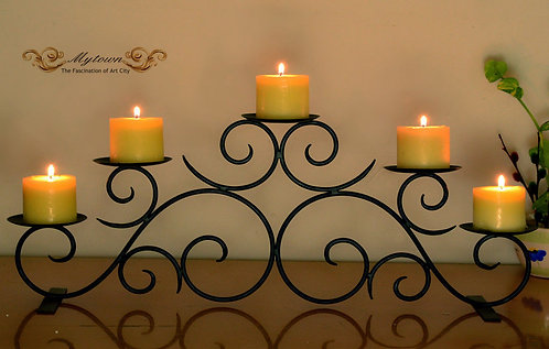 5 Cup Black Wrought Iron table top Candle Holder