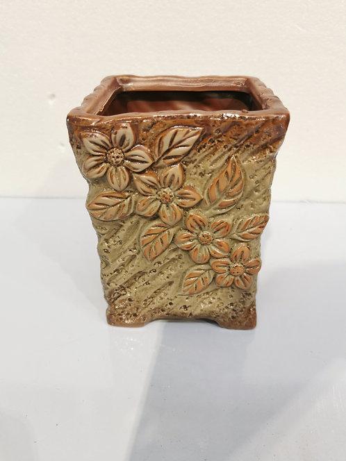 3D Flower Hand Painted Tall Ceramic Succulents Pots Vintage Brown #4