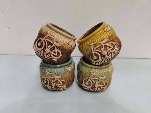 Set of 4 3D Hand Painted Ceramic Succulents Pots Round Bikes
