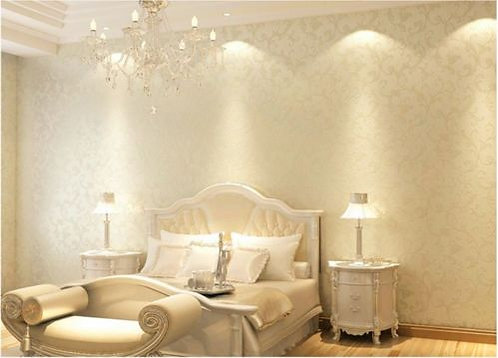 Luxury Modern WALLPAPER ROLL 3D Thick Pearl White