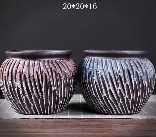 Pair Large Premium Purple Clay Succulents flower pots Bowl 20cm x 16cm