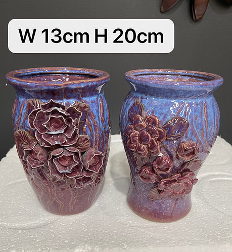 Pair 3D Flower Hand Painted Ceramic Succulents Pots Gloss Glaze #8