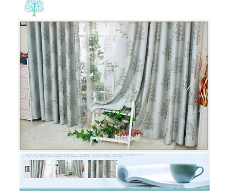 QUALITY BLOCKOUT EYELET CURTAINS Tree Silver/Red