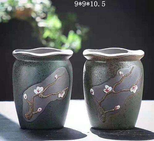 Pair Purple Clay Succulents flower pots Classic Design D