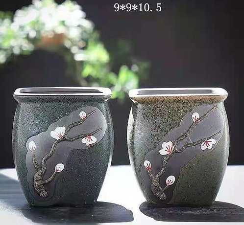 Pair Purple Clay Succulents flower pots Classic DesignA