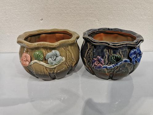 Pair 3D Flower Hand Painted Ceramic Round Succulents Pots Gloss Glaze #4