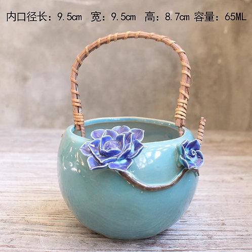 Realistic Basket Succulent Pots with handle - Tiffany blue 9.5cm