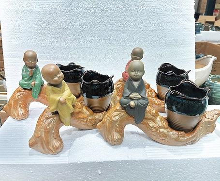 Fine made 4 Monks Sitting Cactus Succulent Pots Indoor Outdoor Plant pot Ceramic