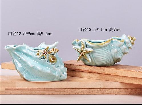 Pair Fine made Ceramic Conch Succulent pots Glaze 13.5cm x 9.5cm