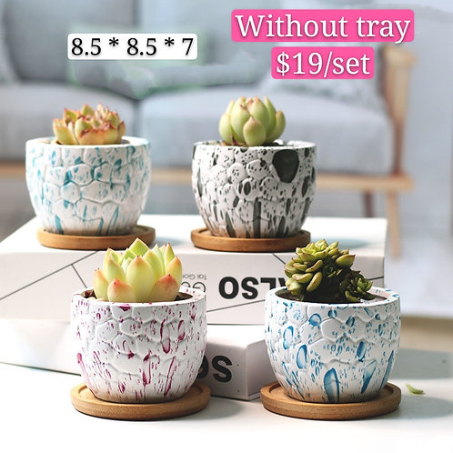 Snow white Hand made painted Ceramic Succulents Pots set of 4 8.5cm x 7cm