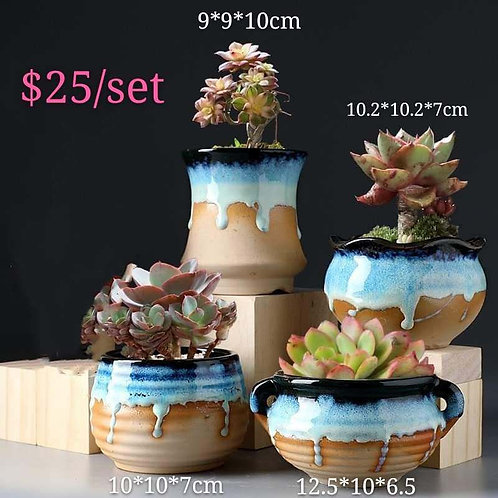 Collection of 4 Ceramic Gloss Melting Blue Ivory